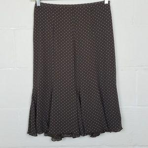 Boden Polka Dot Brown White Floaty Hem Skirt 10R